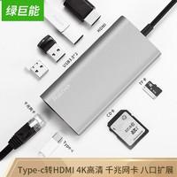 百亿补贴:LIano 绿巨能 八合一 Type-C扩展坞(HDMI/SD卡/千兆网口/PD快充)