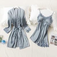 权夫人 性感冰丝睡裙两件套