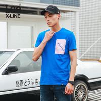 Lee L319211RF8MD 男士圆领蓝色短袖T恤