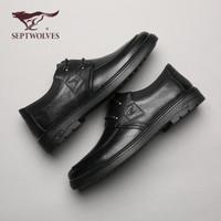 七匹狼(SEPTWOLVES)经典商务休闲男士皮鞋8383031058黑色42