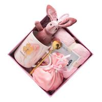 蓝洋 杯子勺子许愿兔毛巾珍珠糖袋拉菲草精美礼盒
