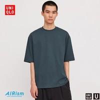 优衣库 男装/女装 AIRism宽松圆领T恤(五分袖) 425974