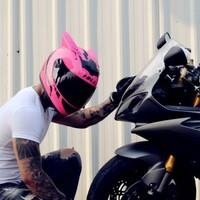 HNJ  电动摩托车头盔 粉武士+黑角(黑片) 均码