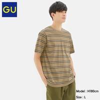 GU 极优 322784 男装细条纹圆领T恤