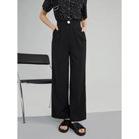 自巧 20ZQ0214 女士黑色背带垂感阔腿裤