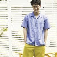 UNIQLO 优衣库 425103 男士麻棉开领衬衫