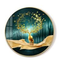 卓益 麋鹿进门玄关装饰挂画 直径50cm  纯棉油画布+金属画框