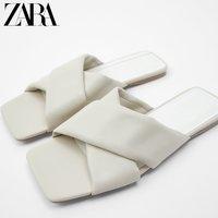 ZARA 11605511002 裸色绗缝牛皮革交叉平底凉鞋