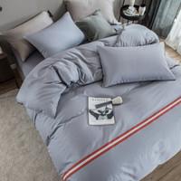 LOVO 罗莱生活出品 四件套全棉时尚床品套件 慢慢时光 灰色200*230cm