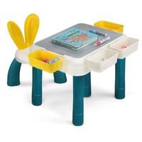 兔妈妈  大颗粒桌+兔耳朵椅+120大颗粒城堡+送4收纳盒