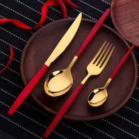 Buyer star  创意不锈钢牛排餐刀勺子叉子   4件套