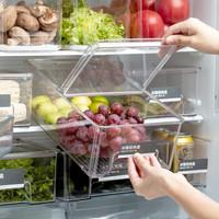 菊之叶 日本翻盖冰箱收纳盒 带盖L号抽屉式可叠加冷藏冷冻储物食品保鲜盒1个装