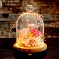 至爱香颂 进口永生花礼盒 暖灯玻璃瓶