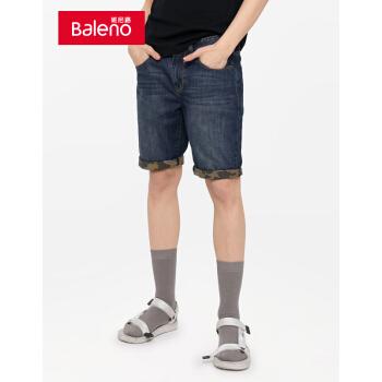 【无货】Baleno班尼路 夏季款时尚棉质潮流牛仔短裤休闲简约百搭五分裤直筒裤 01D S