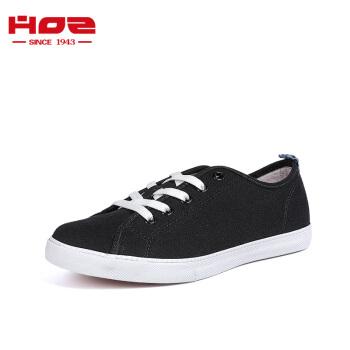 HOZ后街帆布鞋男女情侣款平底低帮板鞋韩版系带休闲鞋 黑色-女款 34.5