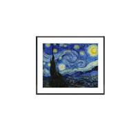 艺术品:梵高《星月夜》艺术版画 DIY油画教学 客厅装饰画 黑色框 画框尺寸40*30cm