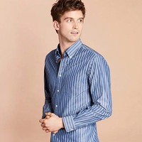 Brooks Brothers 布克兄弟 条纹纯棉线织衬衫