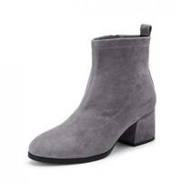 BeLLE 百丽 31844DD9 女士时尚粗跟绒面短靴