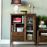 历史低价:治木工坊 纯实木美式胡桃色边柜 0.8-1m