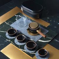 艺术品:飞形物风铃Pro便携茶具 一壶四杯便携会友送礼旅行套装 黑釉款