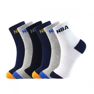 NBA 6双装 休闲运动袜子男夏季 中筒男士袜子男袜 精梳棉篮球袜