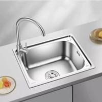 双11预售:晶厨 不锈钢拉伸水槽单槽 500*400mm(不含安装) 标配款
