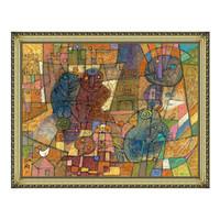 艺术品:抽象油画《都市生活》邵飞背景墙装饰画挂画 宫廷金 70×89cm