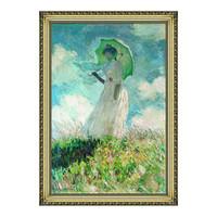艺术品:莫奈油画《往左看的持伞妇女》背景墙装饰画挂画 宫廷金 79×112cm