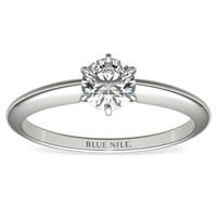 Blue Nile 0.51克拉圆形切割钻石(良好切工 D级成色 SI2净度)+14K白金六爪单石戒托