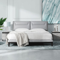 顾家家居 床 双人床真皮床现代简约储物床1.8米卧室家具 B890 常规款大地灰送M0001C