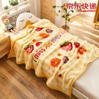 床美人 毛毯加厚双层拉舍尔毯子可爱保暖毛巾被办公室午睡空调盖毯 水果派-黄 180*220cm(6斤)
