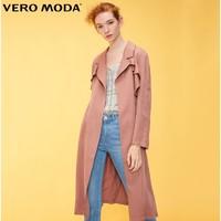 Vero Moda 318321521 女士荷叶边长款风衣外套