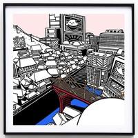 艺术品:限量版画《谜之城》装饰画挂画礼品 黑色铝框 362*362 mm