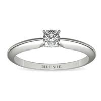 Blue Nile 0.40克拉垫形钻石(非常好切工  D级成色 VVS2 净度)+四镶爪单石戒托