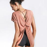 La Nikar 运动t恤女宽松露美背健身上衣性感瑜伽服罩衫夏天体恤潮