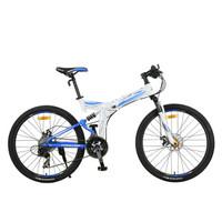 永久自行车折叠车山地车27速铝合金26寸全避震双碟刹男士女士单车折叠山地车QJ006-D 白蓝色