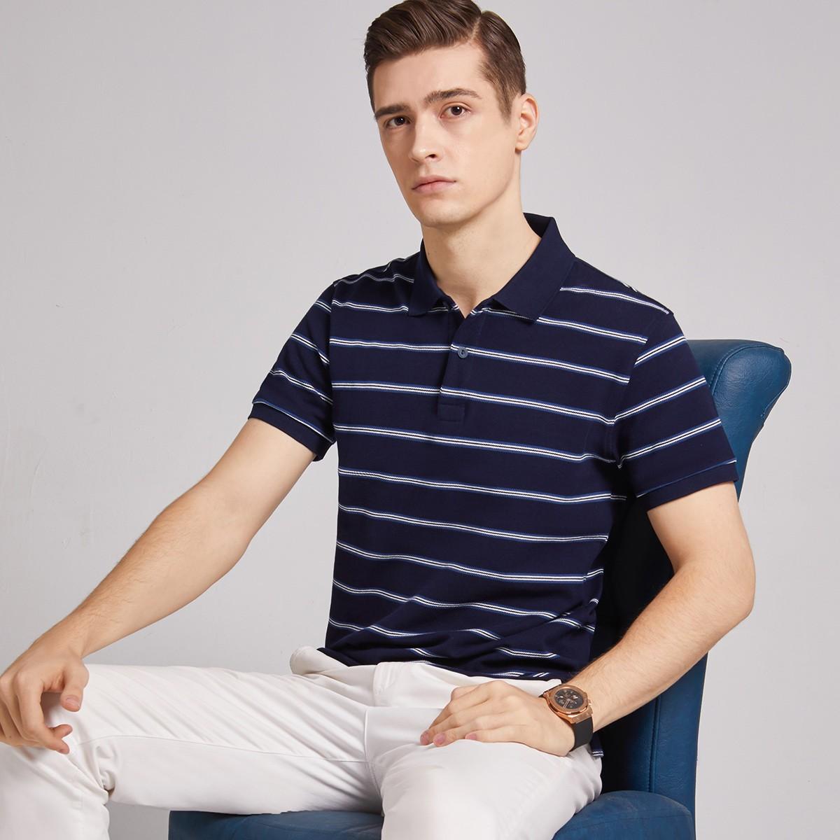 杉杉 FWP20291013101  男士休闲条纹polo衫
