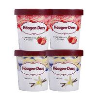 中粮法国直采 哈根达斯460ml*4杯 组合装 大杯冰激凌冰棍雪糕 草莓*2+花生酱*2