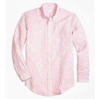 Brooks Brothers 布克兄弟 男士粉色条纹亚麻衬衫