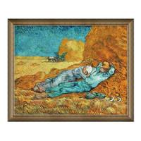 艺术品:梵高人物风景油画《午休》背景墙装饰画挂画 典雅栗(偏金色) 90*73cm
