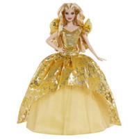 Barbie 芭比 GHT54 美丽珍藏款 节日惊喜娃娃 金色长裙