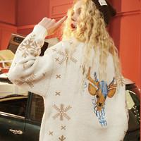 elf sack 妖精的口袋 19402250 女士红色圣诞雪花毛衣