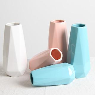 ins北欧陶瓷花瓶白色水培客厅干花小花瓶 简约装饰品桌面插花摆件