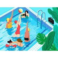 艺术品:Decue Wu 插画时尚作品 《泳池》23×35.5cm