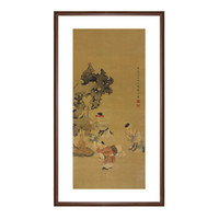 艺术品:《戏婴图》 陈洪绶 授权复刻 水墨画国画背景墙挂画 咖啡实木国画框