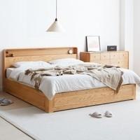 双11预售:VISAWOOD 维莎原木 w2016-y 日式橡木箱体床 低铺板 1.2m