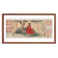 艺术品:《红衣西域僧图》 赵孟頫 水墨画国画背景墙挂画 咖啡实木国画框