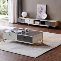 双11预售、历史低价:QuanU 全友 120797 北欧简约电视柜+茶几组合