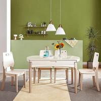 双11预售:QuanU 全友 120771 钢化玻璃实木餐桌椅组合 一桌四椅