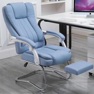 伯力斯 电脑椅 布艺办公椅家用午睡可躺人体工学椅老板椅电竞椅 学生椅子学习书桌椅 MD-901 弓脚+脚托卡其色
